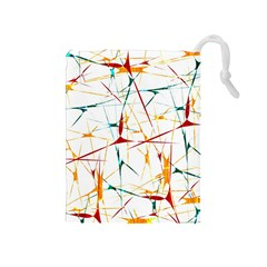 Colorful Splatter Abstract Shapes Drawstring Pouch (Medium)