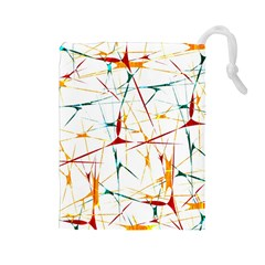 Colorful Splatter Abstract Shapes Drawstring Pouch (Large)