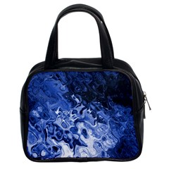 Blue Waves Abstract Art Classic Handbag (two Sides)