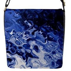 Blue Waves Abstract Art Flap Closure Messenger Bag (small)