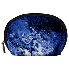 Blue Waves Abstract Art Accessory Pouch (Large)