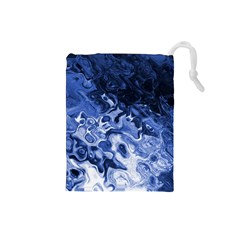 Blue Waves Abstract Art Drawstring Pouch (Small)