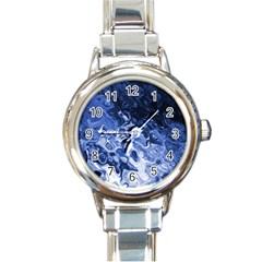 Blue Waves Abstract Art Round Italian Charm Watch
