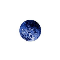 Blue Waves Abstract Art 1  Mini Button Magnet