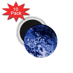 Blue Waves Abstract Art 1.75  Button Magnet (10 pack)