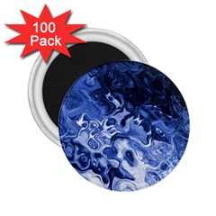 Blue Waves Abstract Art 2.25  Button Magnet (100 pack)