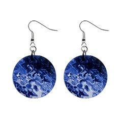 Blue Waves Abstract Art Mini Button Earrings