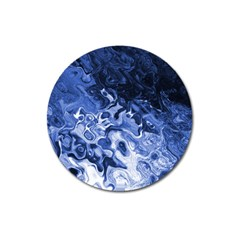 Blue Waves Abstract Art Magnet 3  (round)