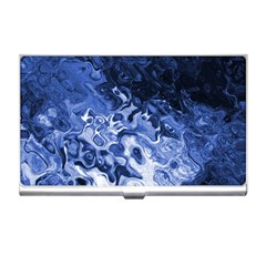 Blue Waves Abstract Art Business Card Holder