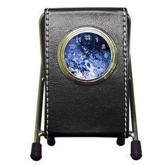 Blue Waves Abstract Art Stationery Holder Clock