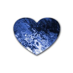 Blue Waves Abstract Art Drink Coasters (heart)