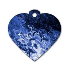 Blue Waves Abstract Art Dog Tag Heart (two Sided)