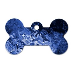 Blue Waves Abstract Art Dog Tag Bone (two Sided)