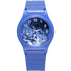 Blue Waves Abstract Art Plastic Sport Watch (small)