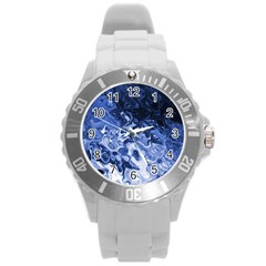 Blue Waves Abstract Art Plastic Sport Watch (large)