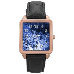 Blue Waves Abstract Art Rose Gold Leather Watch
