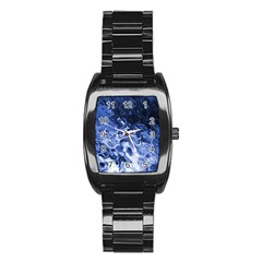 Blue Waves Abstract Art Stainless Steel Barrel Watch