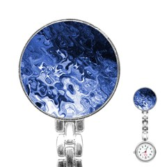 Blue Waves Abstract Art Stainless Steel Nurses Watch