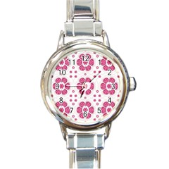Sweety Pink Floral Pattern Round Italian Charm Watch