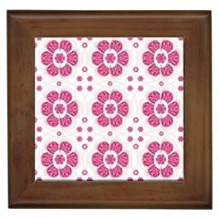 Sweety Pink Floral Pattern Framed Ceramic Tile