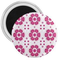 Sweety Pink Floral Pattern 3  Button Magnet