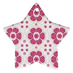 Sweety Pink Floral Pattern Star Ornament