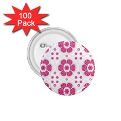 Sweety Pink Floral Pattern 1.75  Button (100 pack)