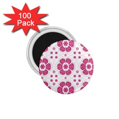 Sweety Pink Floral Pattern 1.75  Button Magnet (100 pack)