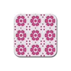 Sweety Pink Floral Pattern Drink Coaster (square)