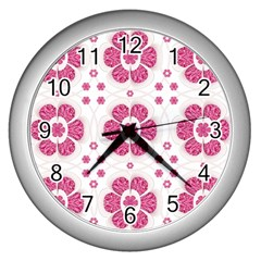 Sweety Pink Floral Pattern Wall Clock (silver)