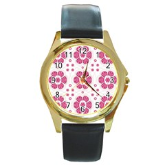 Sweety Pink Floral Pattern Round Leather Watch (gold Rim)