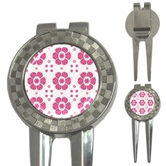 Sweety Pink Floral Pattern Golf Pitchfork & Ball Marker