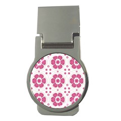Sweety Pink Floral Pattern Money Clip (round)