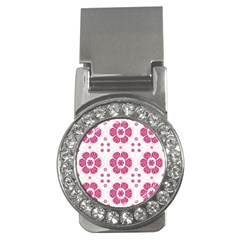 Sweety Pink Floral Pattern Money Clip (cz)