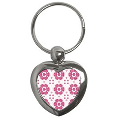 Sweety Pink Floral Pattern Key Chain (Heart)