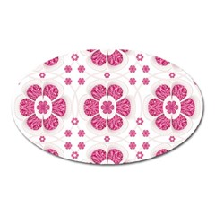 Sweety Pink Floral Pattern Magnet (Oval)