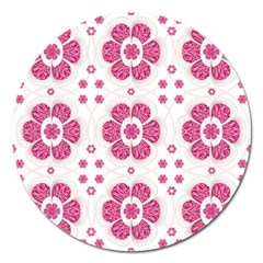 Sweety Pink Floral Pattern Magnet 5  (Round)