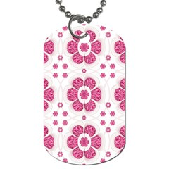 Sweety Pink Floral Pattern Dog Tag (two Sided)
