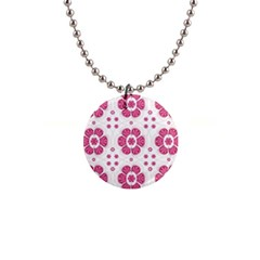 Sweety Pink Floral Pattern Button Necklace