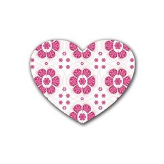 Sweety Pink Floral Pattern Drink Coasters 4 Pack (Heart)