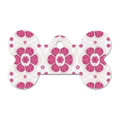 Sweety Pink Floral Pattern Dog Tag Bone (Two Sided)