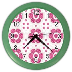 Sweety Pink Floral Pattern Wall Clock (Color)