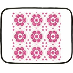 Sweety Pink Floral Pattern Mini Fleece Blanket (Two Sided)