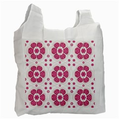 Sweety Pink Floral Pattern White Reusable Bag (one Side)