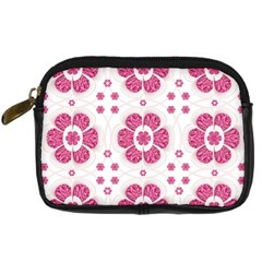 Sweety Pink Floral Pattern Digital Camera Leather Case