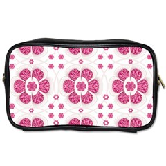 Sweety Pink Floral Pattern Travel Toiletry Bag (two Sides)