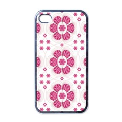 Sweety Pink Floral Pattern Apple Iphone 4 Case (black)