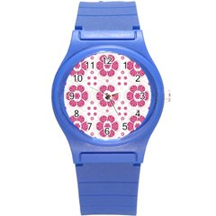 Sweety Pink Floral Pattern Plastic Sport Watch (small)