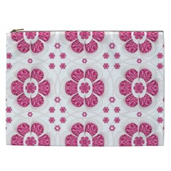 Sweety Pink Floral Pattern Cosmetic Bag (xxl)