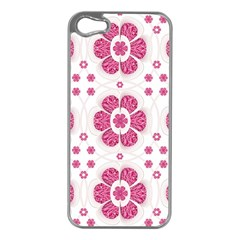 Sweety Pink Floral Pattern Apple Iphone 5 Case (silver)